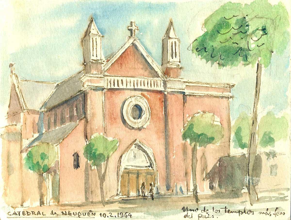 Aparte de arquitecto e Ingeniero, Gassowski era un excelente dibujante. Dejó muchos paisajes retratados del Neuquén que le tocó vivir. En algunos, dejaba plasmados su opinión, su mirada de arquitecto. A la catedral de Neuquén, la consideraba una de las más feas del país.