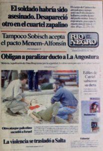 Tapa del diario 'Rio Negro' anticipando el crimen.