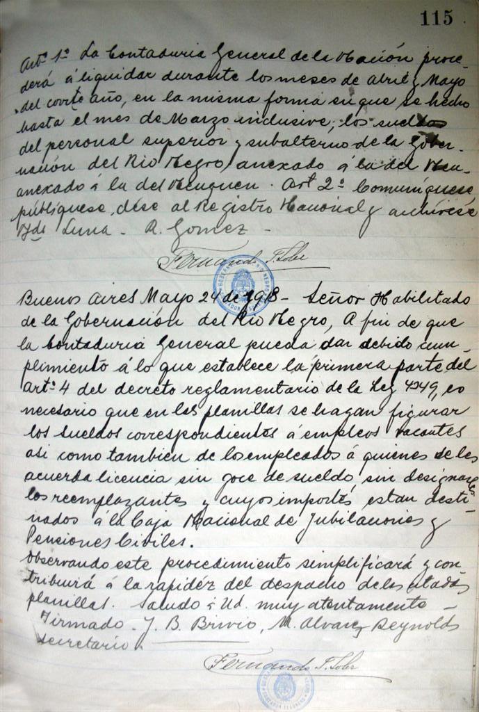 Copiador de Notas de la Gobernación 1916 – 1918 del Archivo Histórico de Viedma.