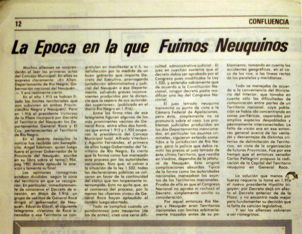 Periódico Confluencia 1980