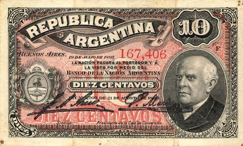 Billete de 10 centavos de Peso Moneda Nacional del año 1895