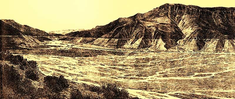 Vista de lo que quedaba del lago Carri Lauquén, con posterioridad a su vaciado, en 1914, según el geólogo Groeber en 1916.