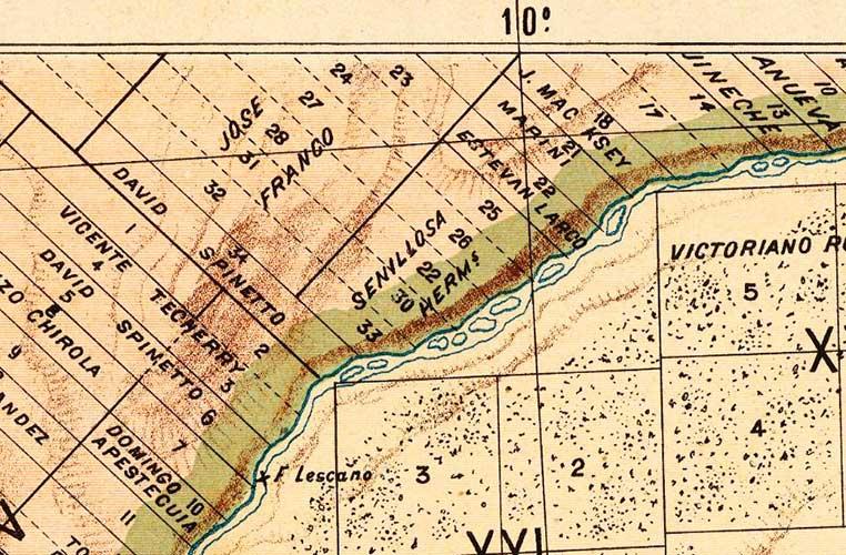 Sección de mapa catastral del año 1901 donde aparecen los campos de los hermanos Felipe y Pastor Senillosa.