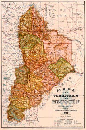 Mapa del Neuquén del año 1941, elaborado por el Instituto Geográfico Militar.