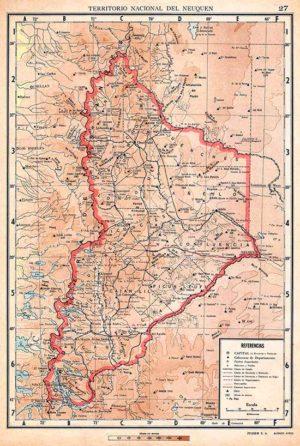 Mapa del territorio del Neuquén, Editorial Peuser, 1940
