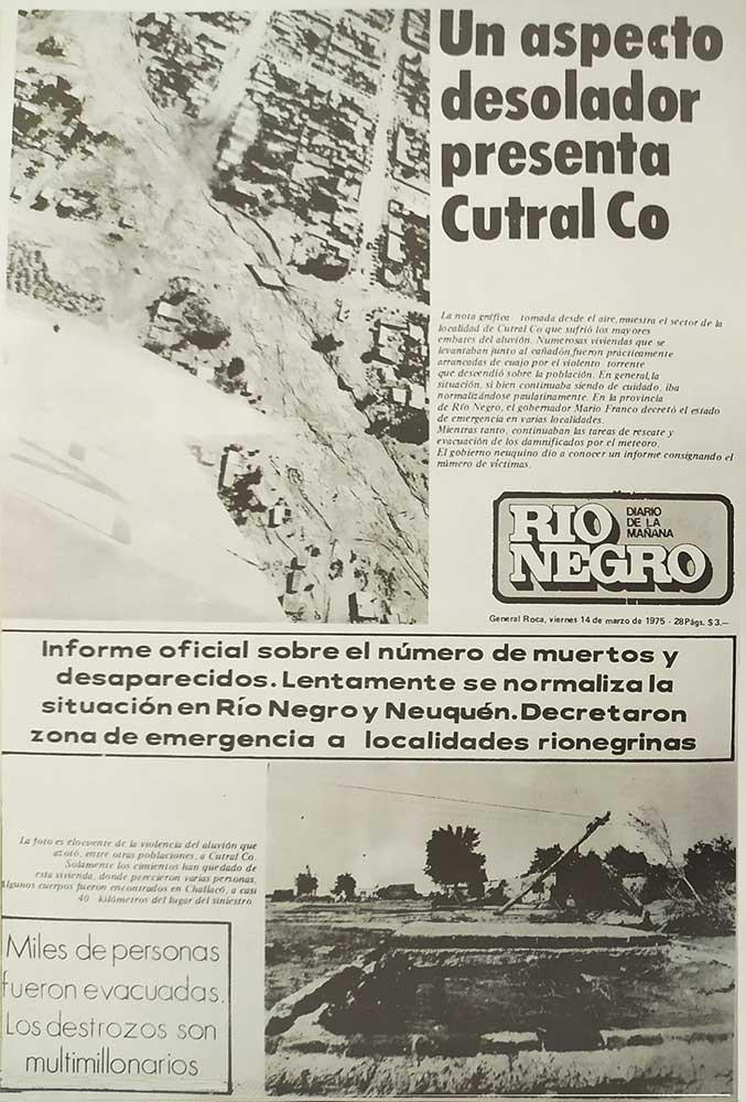 1975 – Gran tormenta e inundación en Neuquén – Cutral Co, la mas afectada