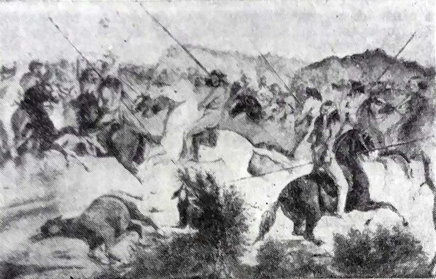 Imagen ilustrativa: Entrevero entre militares y pehuenches, Cuadro del coronel Manuel Olascoaga, Museo de Santiago de Chile