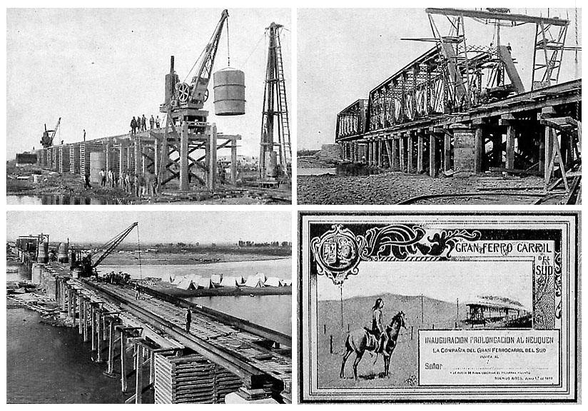 Construcción del puente ferroviario sobre el río Neuquén