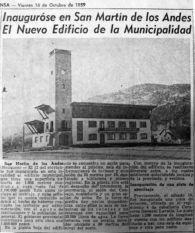 Diario La Prensa del viernes 16 de Octubre de 1959, haciendo mención al nuevo edificio de la Municipalidad de San Martín de los Andes.