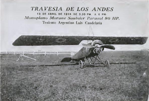 El famoso avión Morane Saulnier de 80 hp con el que Luis Candelaria cruzó los Andes en 1918