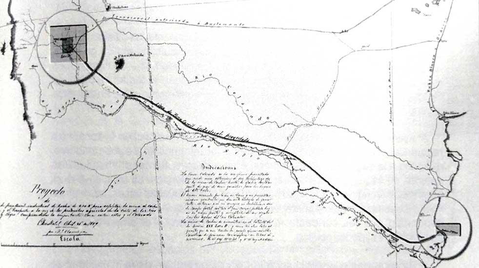 Ferrocarril proyectado desde Tilhue a San Blas (1889)