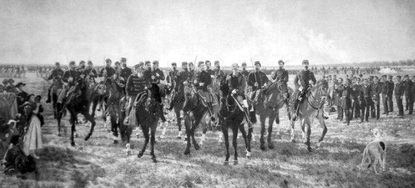 Ocupación militar del Rio Negro por la expedición al mando del gral. Julio A. Roca 1879 (óleo-1896-Juan Manuel Blanes) MHN. Fuente de la fotografía: Educ-ar.
