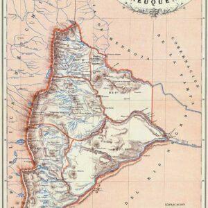 Mapa de la Gobernación del Neuquén en 1887 - reeditado en 1888, del Atlas Geográfico de la República Argentina, de Mariano Felipe Paz Soldán Buenos Aires - Librería de Felix Lajouane - 1887