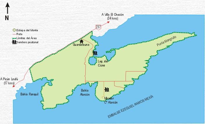 Mapa de Reserva Área Protegida El Mangrullo - Neuquén