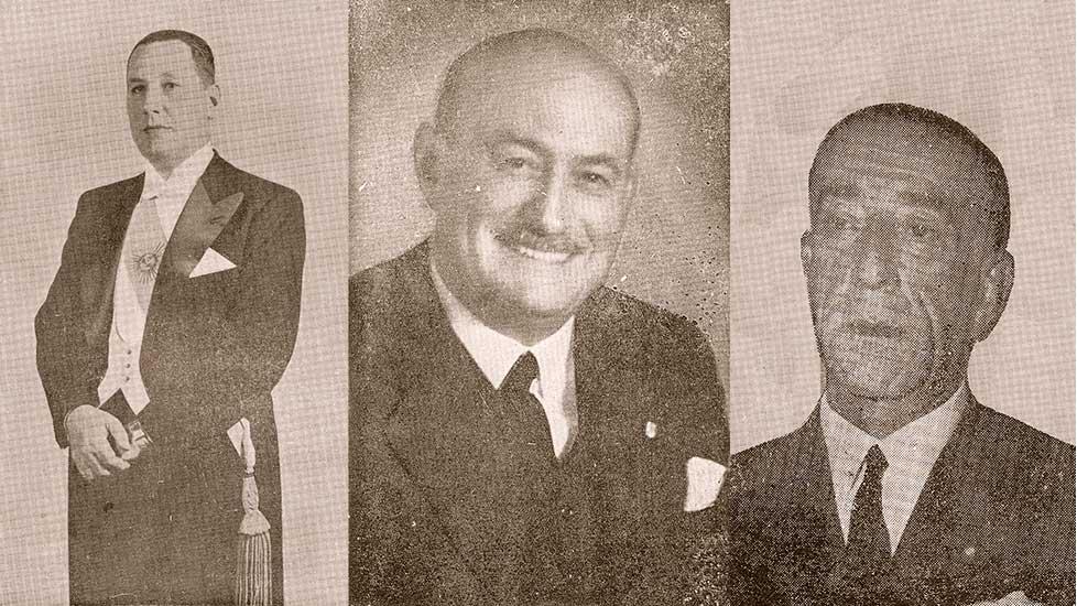 El Presidente de la Nación Juan Domingo Perón, el Gobernador del Territorio de Neuquén en 1955, Pedro Luis Quarta y el delegado de Neuquén en la Cámara de Diputados de la Nación (1955), Pedro Julio San Martín.
