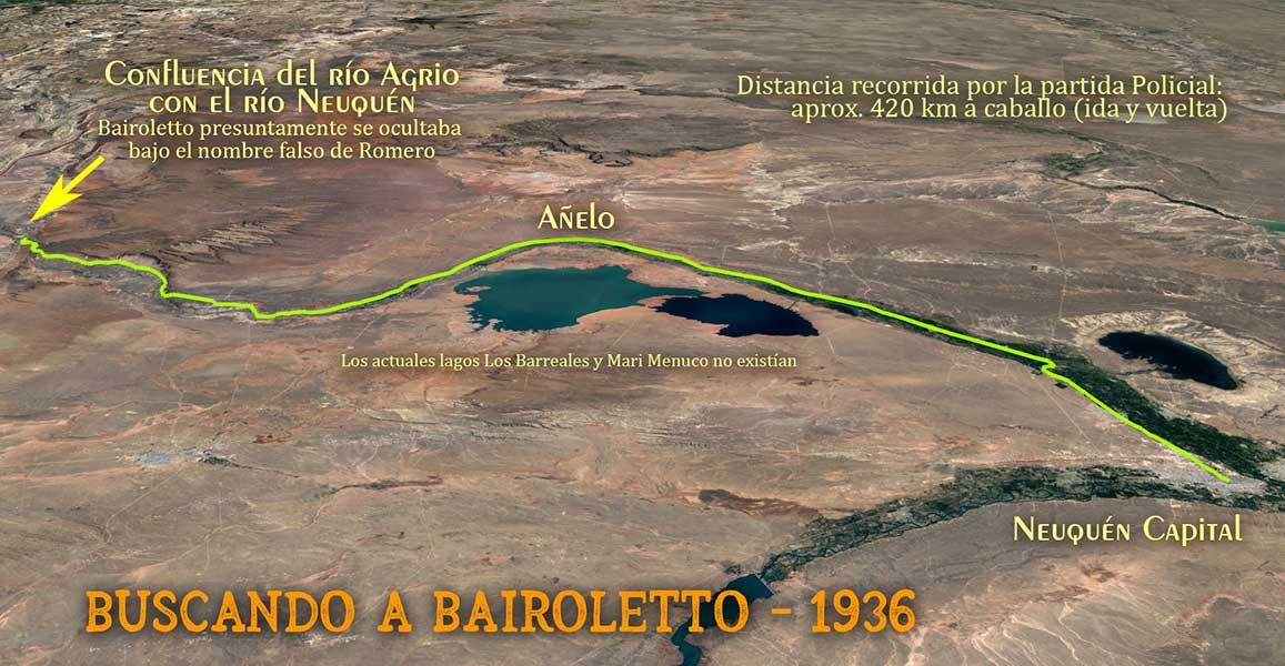 Recorrido de la partida Policial al mando del Comisario Bernabé Espíndola, en busca de Bairoletto en la zona de los Chihuidos, en Neuquén
