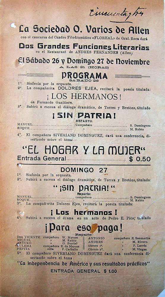 Propaganda de Funciones literarias de la Sociedad de Oficios Varios de Allen.