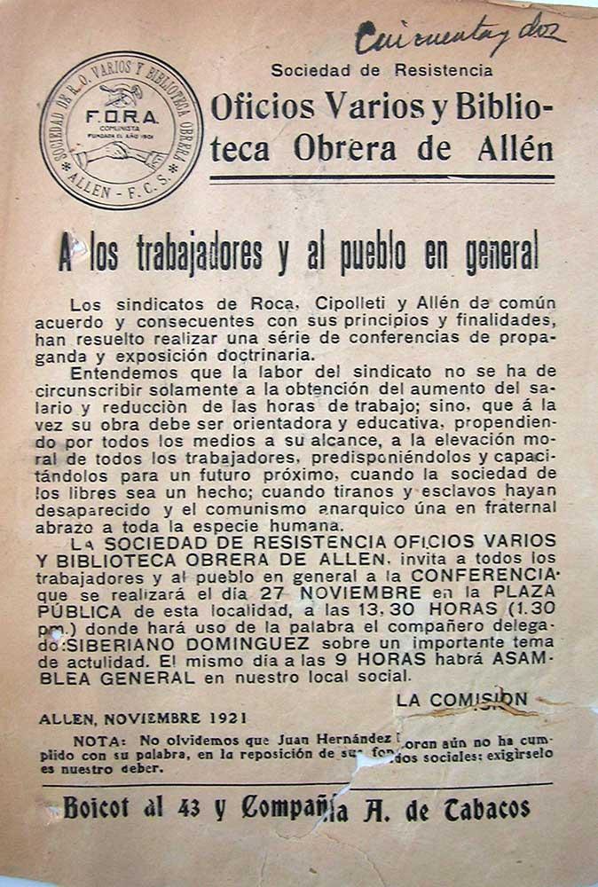 Propaganda de la Sociedad de resistencia, Oficios Varios y Biblioteca Obrera de Allen.