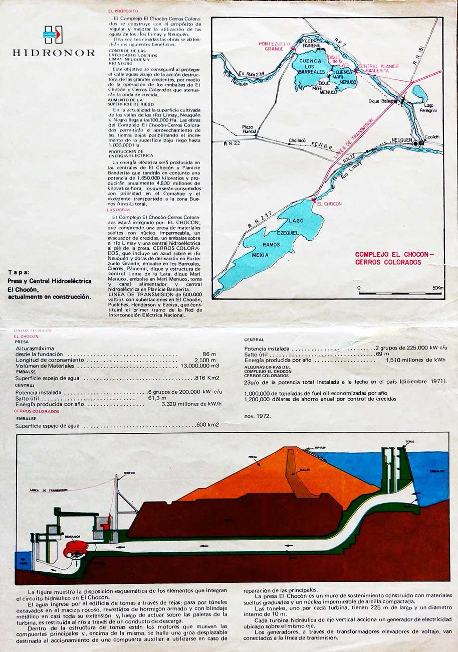 Folleto de Hidronor de 1971 - El Chocón - Cerros Colorados