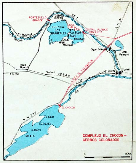 Mapa del complejo El Chocón - Cerros Colorados.