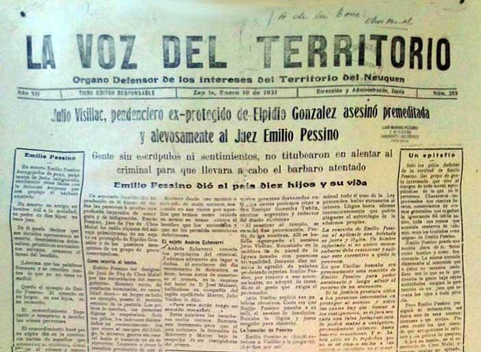 El asesinato del Juez de Paz Emilio Pessino en la nochebuena de 1930 de Chos Malal, conmocionó durante varios años el territorio del Neuquén.