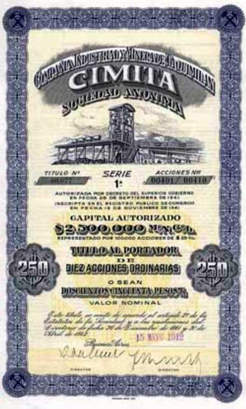 Acciones de la Compañía Industrial y Minera de Taquimilán - CIMITA