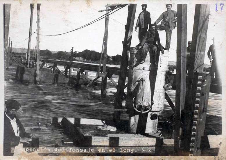 Construcción del Dique Ballester sobre el río Neuquén