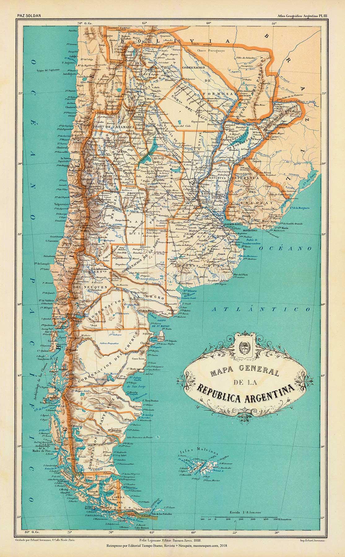 Mapa de la República Argentina de 1887 – reeditado en 1888, del Atlas Geográfico de la República Argentina, de Mariano Felipe Paz Soldán Buenos Aires – Librería de Felix Lajouane – 1887