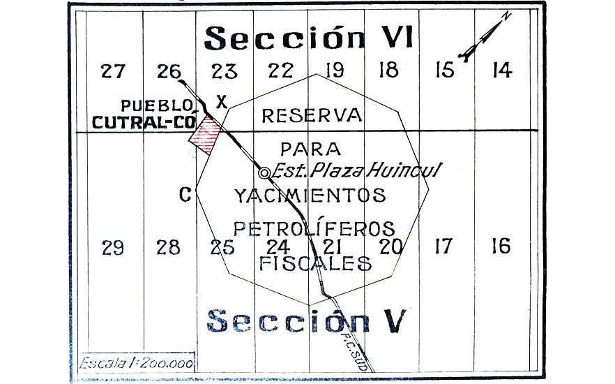 Ubicación de Cutral Co con respecto al Octógono, la reserva petrolera fiscal de YPF.