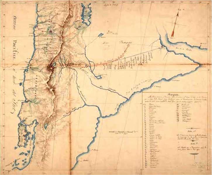 Mapa levantado por Luis de la Cruz y Goyeneche en 1806 y entregado con parte de su diario a las autoridades coloniales (Archivo Histórico Nacional de Chile. Mapa N° 224. Fondo: Varios. Volumen 934. Foja 232).