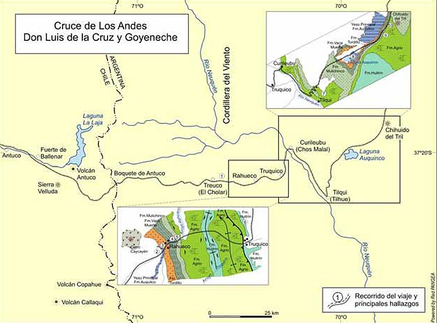 Sector neuquino del viaje de Don Luis de la Cruz y Goyeneche, con dos de los tramos donde realizó importantes hallazgos. Los nombres de las localidades son los originales y entre paréntesis, los nombres actuales.