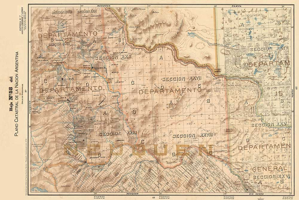 Plano Catastral de 1901 del territorio del Neuquén.