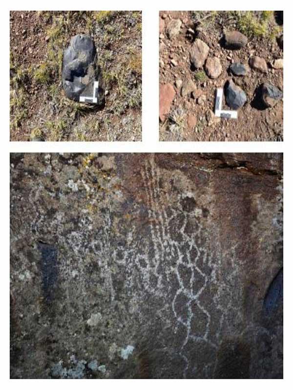 A-B: Materiales líticos arqueológicos con regla para poder estimar su dimensión en una imagen; C: Grabados de rombos, círculos, líneas rectas y escalonadas (Fotos: Sergio D'Abramo).