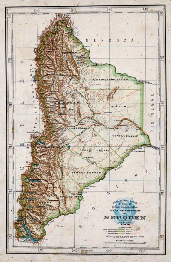 Mapa del Neuquén del año 1906, elaborado por el Instituto Geográfico Militar.