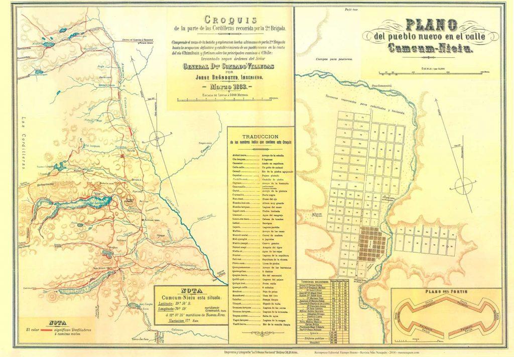 Mapas de la Costa del río Chimehuin recorrido por la 2º Brigada (1883), y plano del pueblo nuevo en el valle de Cumcum Nieiu (futuro Junín de los Andes).