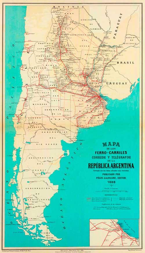 Mapa de ferrocarriles, correos y telégrafos de la República Argentina - 1888 -