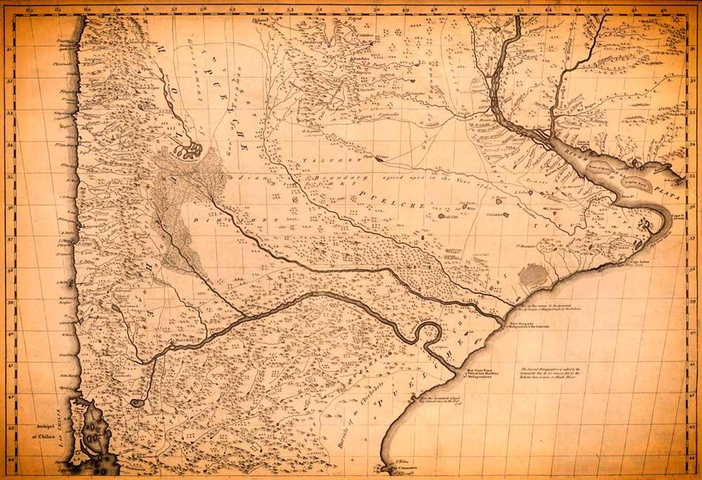 """Tomás Falkner, en obra """"Descripción de Patagonia y de las partes adyacentes de la América meridional"""", del año 1774, incluyó un mapa de la patagonia."""