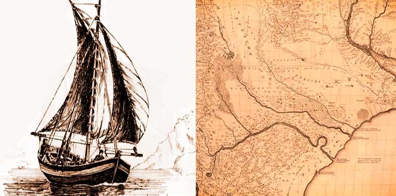 """Tomás Falkner, en obra """"Descripción de Patagonia y de las partes adyacentes de la América meridional"""", del año 1774, incluyó un mapa de la patagonia. Chalupa española con vela del siglo XVIII, probablemente, similar a las utilizadas por Basilio Vilariño en su navegación por los ríos Negro, Limay y Collón Curá."""