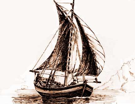 Chalupa española con vela del siglo XVIII, probablemente, similar a las utilizadas por Basilio Vilariño en su navegación por los ríos Negro, Limay y Collón Curá.