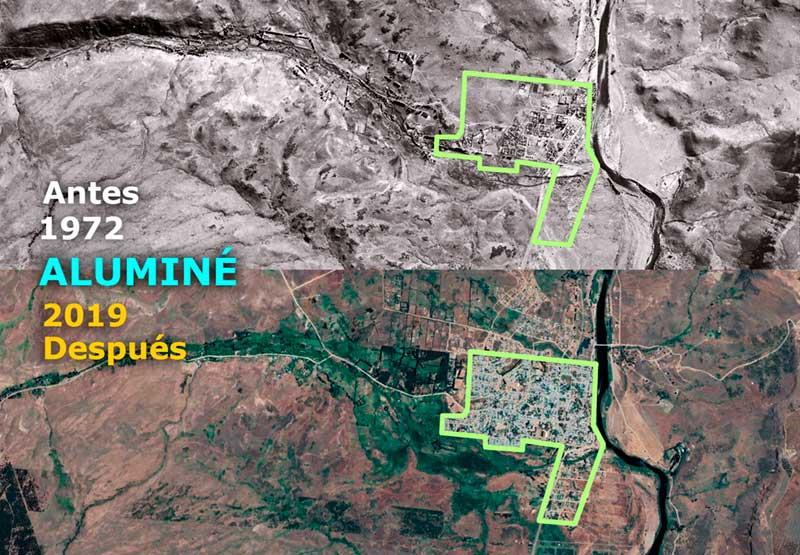 Vista Aérea de Aluminé - 1972 - 2019