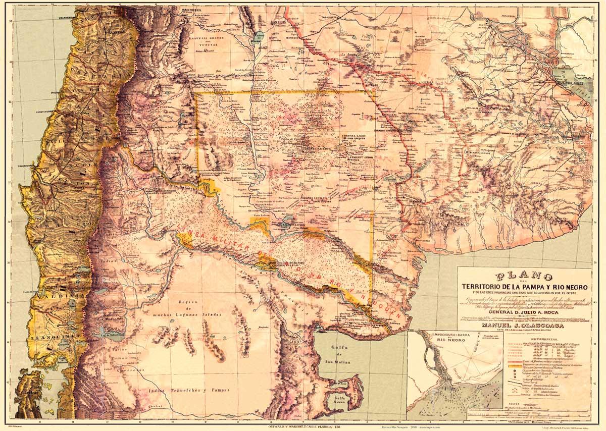 Mapa del territorio de la Pampa y Río Negro confeccionado por el Coronel Olascoaga, primer gobernador del territorio del Neuquén,  publicado en su obra Estudio Topográfico de La Pampa y Río Negro (1880)