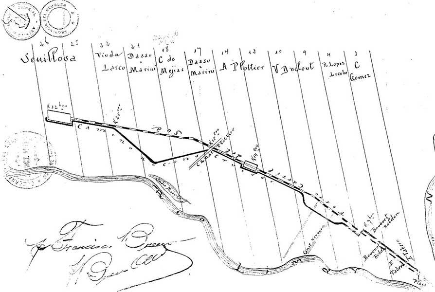 Plano a mano alzada del comerciante Francisco Bueno (1911).