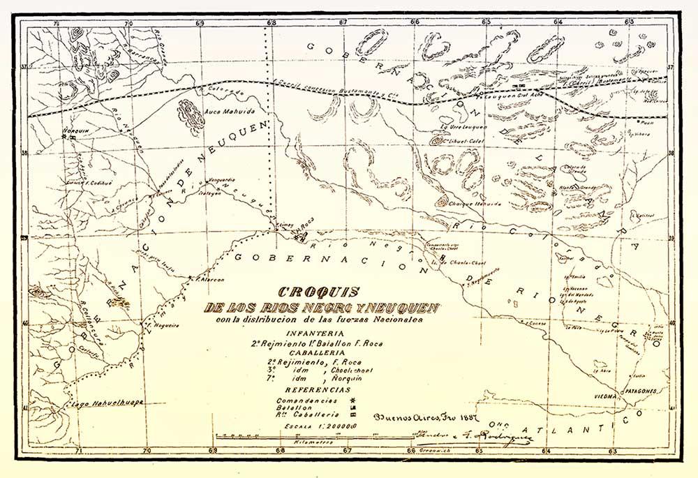 Croquis de los ríos Negro y Neuquén de 1887, con distribución de las fuerzas nacionales.
