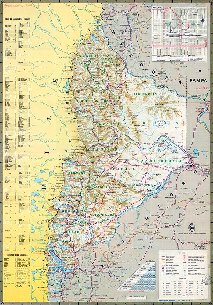 Mapa caminero del Neuquén del Automóvil Club Argentino - 1960