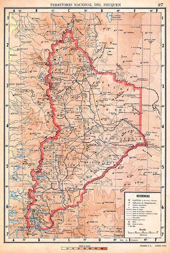 Mapa del Territorio del Neuquén de 1940 - Editorial Peuser.