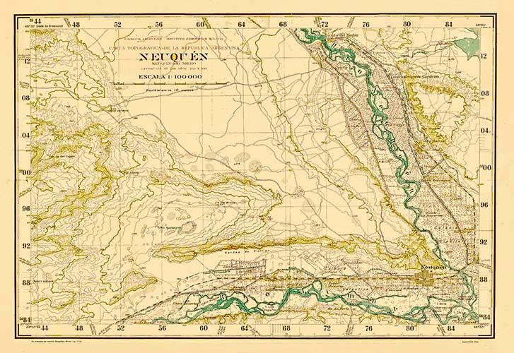 Plano Topográfico - La confluencia del rio Neuquén con el rio Limay - 1939. Alto Valle.