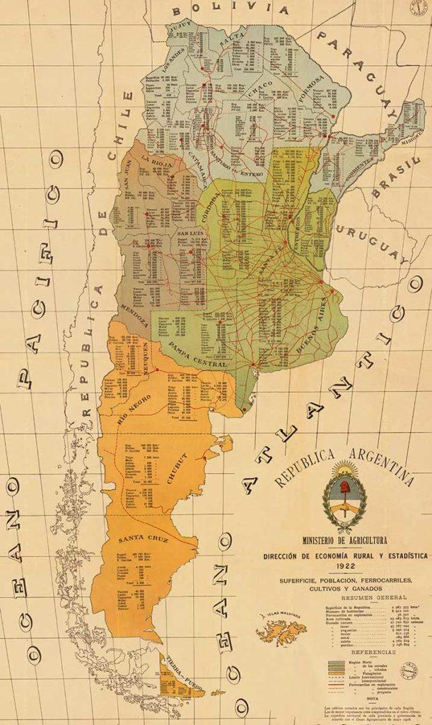 Mapa Economico De La Republica Argentina De 1922 Neuquen