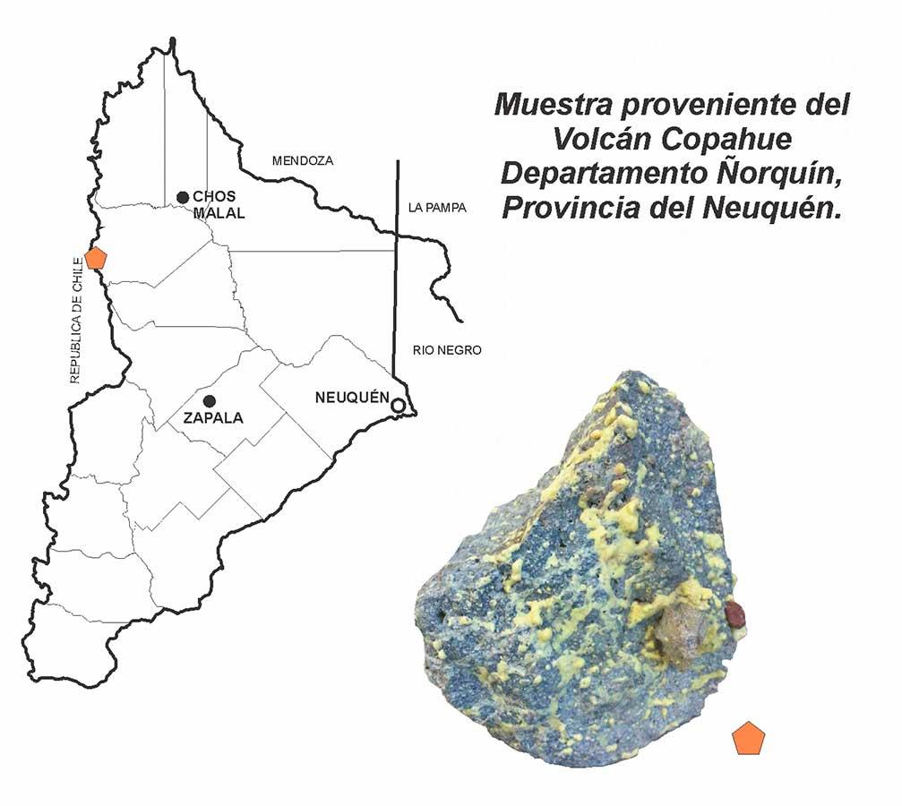 Muestra de azufre del volcán Copahue