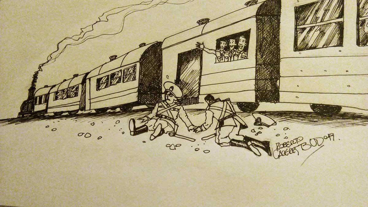 """Rebelión en el tren - Ilustración: """"Bud"""" Cáceres."""