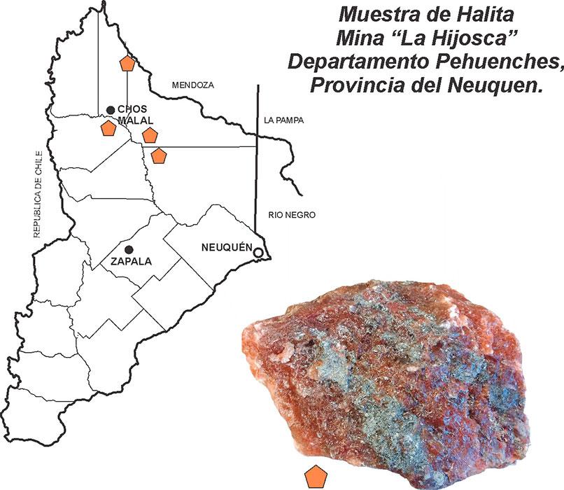 """Muestra de halita de la mina """"La Hijosca"""", Departamento de Pehuenches, Provincia del Neuquén."""